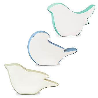 Contemporary Set of 3 White, Blue & Grey Ceramic Bird Silhouette Home Ornaments
