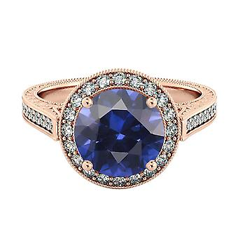 Blue Sapphire 2.10 ctw Ring with Diamonds 14K Rose Gold Halo Filigree With Accents
