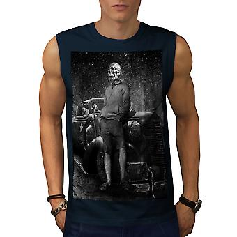 Vintage Car Death Skull Men Navy Sleeveless T-shirt | Wellcoda