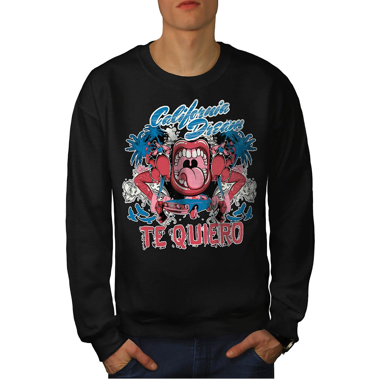 Te Quiero Art California Men Black Sweatshirt | Wellcoda