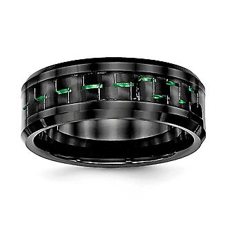 8mm Ceramic Black With Green Carbon Fiber Beveled Edge Ring - Ring Size: 7 to 13