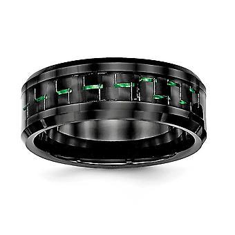 8mm Keramisch zwart met groene koolstofvezel afgeschuinde rand Ring - Ringmaat: 7 tot en met 13