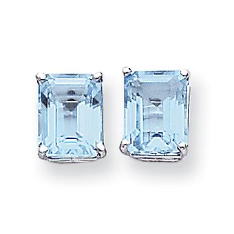 14 k witgoud gepolijst Post oorbellen 9x7mm Emerald-Cut Blue Topaz oorbellen - 5.50 cwt