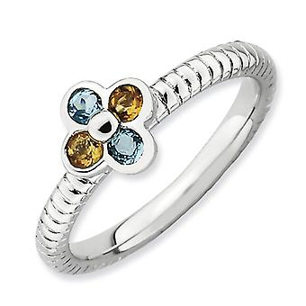 2.25mm Sterling Silver Stackable Expressions Blue Topaz and Citrine Flower Ring - Ring Size: 5 to 10