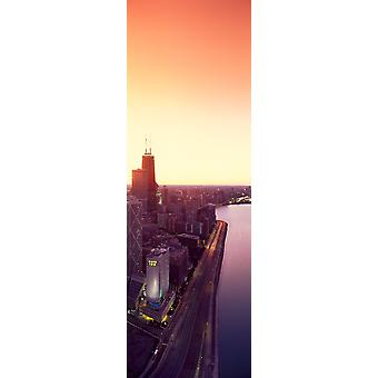 Панорама Чикаго skyline и Джон Хэнкок здание на закате Чикаго IL Плакат Печать