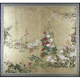 Sammenleggbar skjerm med blomster japanske Poster trykk