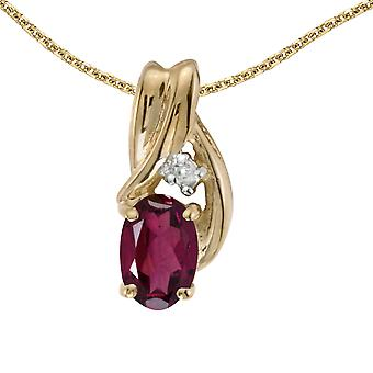 14k Yellow Gold Oval Rhodolite Garnet And Diamond Pendant with 18