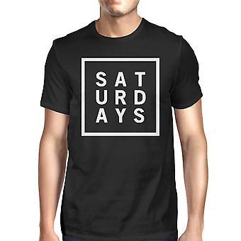 土曜日メンズ黒シャツ半袖 t シャツ表記印刷