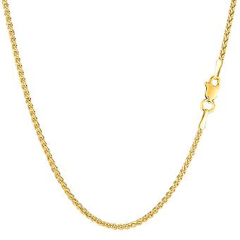 14k Yellow Gold Round Wheat Chain Necklace, 1.5mm