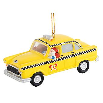 New York City Yellow Cab Santa Claus Taxachauffoer Driver Christmas Holiday Ornament