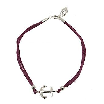 W.A.T Purple Silk Cord 925 Sterling Silver Anchor Friendship Bracelet