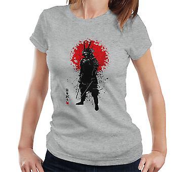 Samurai Leaf and Ink Splatter Women's T-Shirt