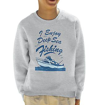 Ich genieße es Deep Sea Fishing Kids Sweatshirt