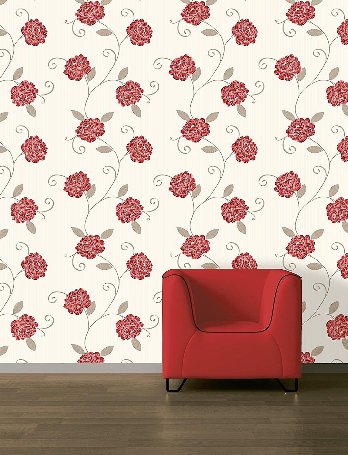 Puccini Floral Flower Leaf Red Cream Wallpaper Feature Wall
