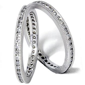 ct 1 ajuste de eternidad apilable boda guardia anillos 14K