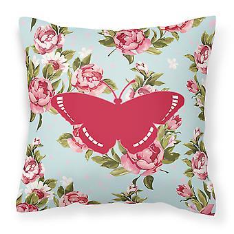 Schmetterling schäbig schicke blaue Rosen Canvas Stoff Dekorative Kissen BB1038
