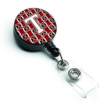 Letter T Football Cardinal and White Retractable Badge Reel