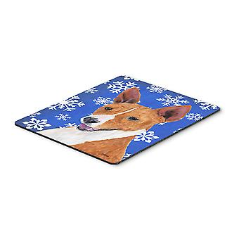 Basenji Winter Snowflakes Holiday Mouse Pad, Hot Pad or Trivet