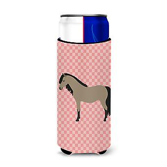 Welsh Pony Horse Pink Check Michelob Ultra Hugger for slim cans