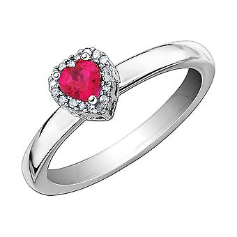 Synthetic Created Ruby Heart Ring in Sterling Silver