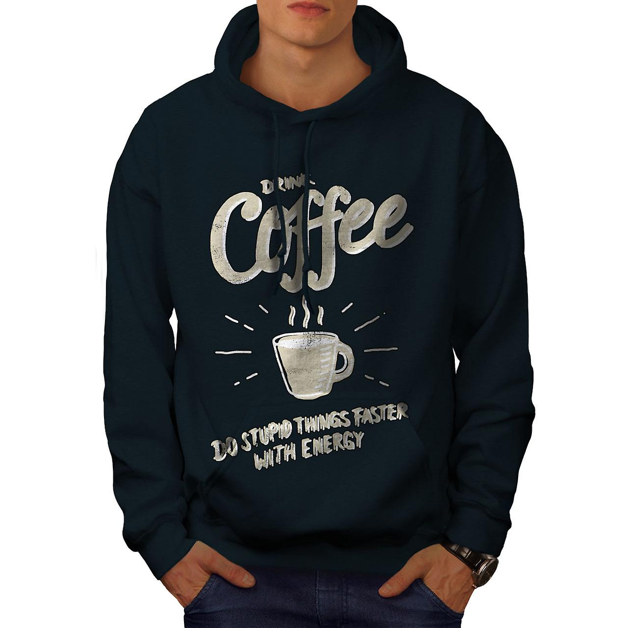 Boire café alimentaire stupide hommes NavyHoodie