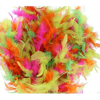 Neon Pink, Green, Yellow & Orange Mixed Colour Feather Boa Fancy Dress Accessory