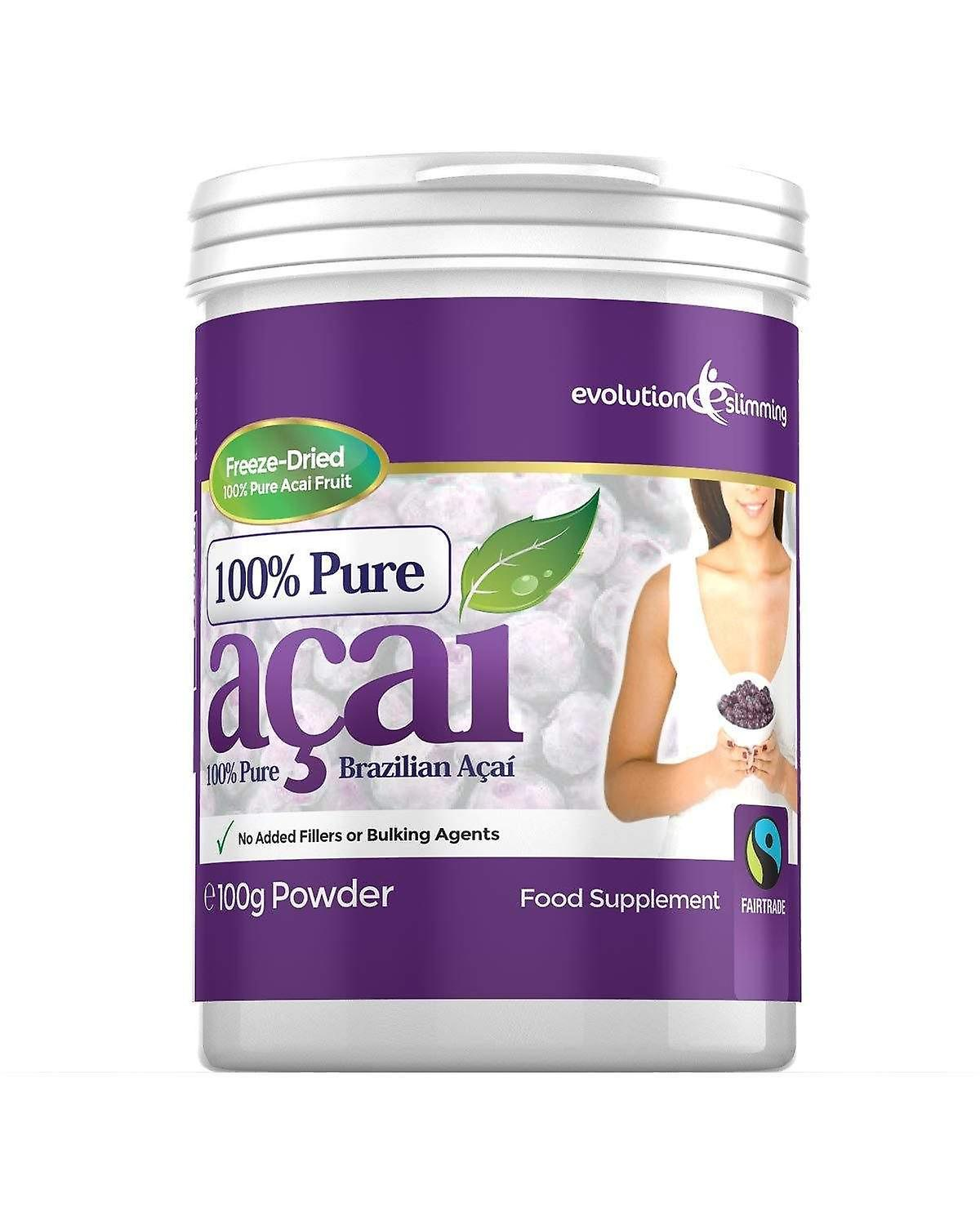 100% Pure Acai Berry Powder Tub 100g for Smoothies and Juices - 100g Tub - Acai Berry - Evolution Slimming