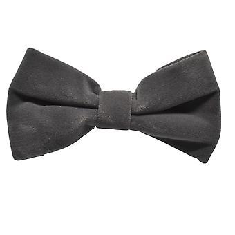 Dark Silver Grey Velvet Bow Tie