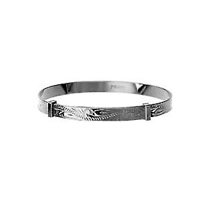 Silver 40mm diameter expanding baby Bangle hand engraved