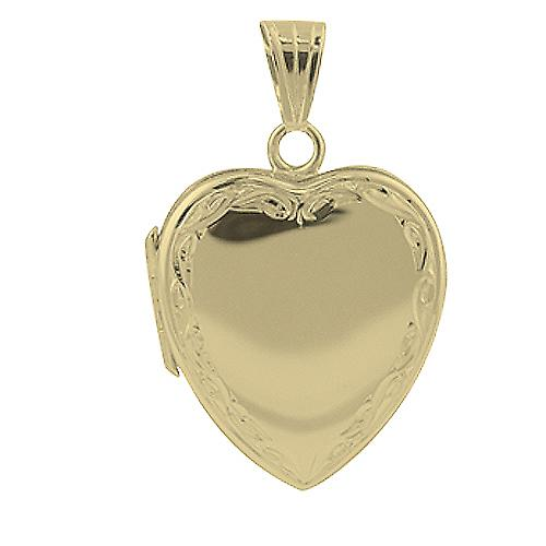 9ct Gold 24x20mm hand engraved scroll edge plain centre heart shaped Locket