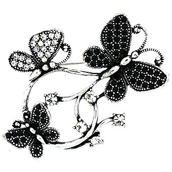 Broches magasin Jet Black et broche de Corsage Triple cristal papillon