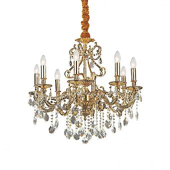 Ideal Lux Gioconda Traditional Gold Ceiling Pendant With Diamante Design 8 Light