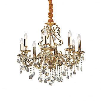 Идеальные Lux Джоконда традиционные золотые потолок подвеска с Диаманте дизайн 8 свет