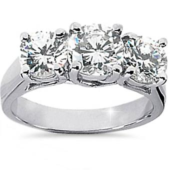2 1 / 2ct drie steen enorme Diamond Engagement 14K White Gold