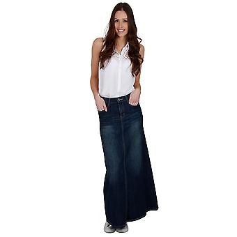 Long Dark Wash Denim Skirt SKIRT94 Womens Maxi Skirt Full Length Denim Skirt