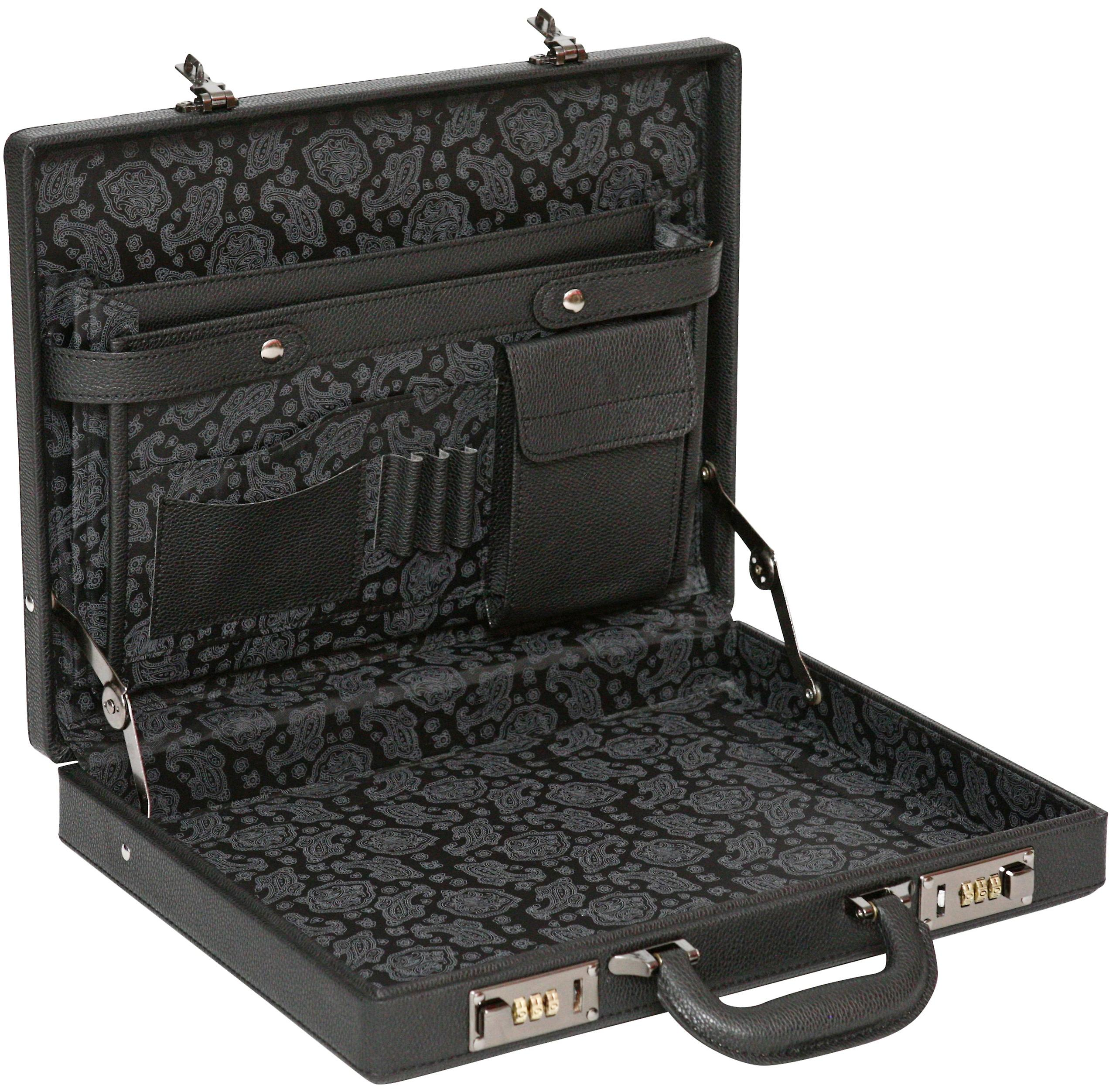 Tassia Slimline Attache Business Briefcase - Leather Look Pu