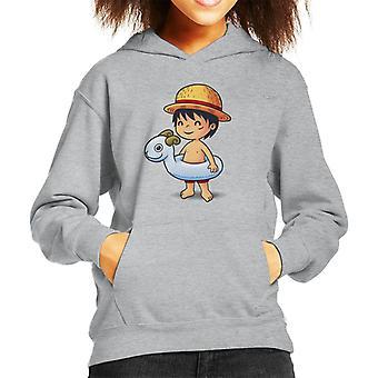One Piece Cute Beach Monkey D Luffy Kid's Hooded Sweatshirt