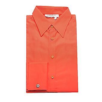 Yves Saint Laurent mäns bomull punkt krage klänning skjorta Orange