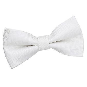 Ivory Greek Key Pre-Tied Bow Tie