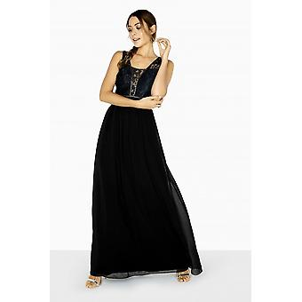Little Mistress Francesca Lace Panel Maxi Dress With Beadwork