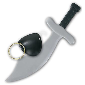 Pirate set 3-piece small eye patch knife earring accessory