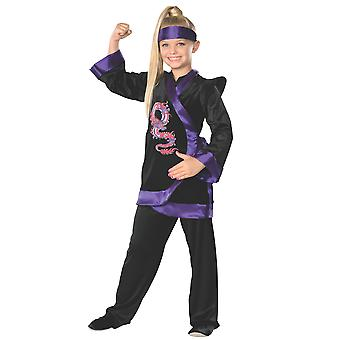 Purple Dragon Ninja Stealth Assassin Japanese Warrior Book Week Girls Costume