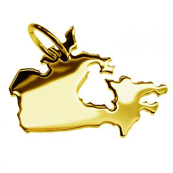 Pendant map CANADA CANADA Chain pendant in solid 585 yellow gold