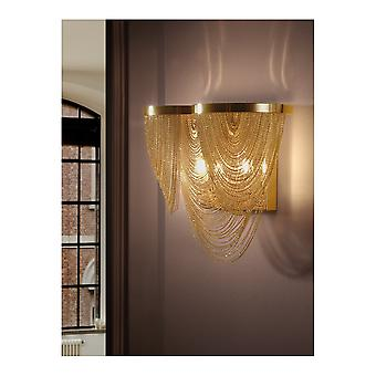 Schuller Minerva Twin Gold Wall Sconce With Gold Chains
