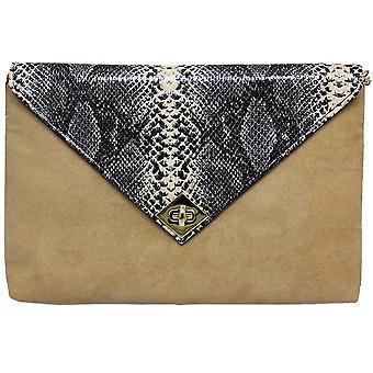 ZLV359 Tessie Ladies Schlange Wildleder Clutch Bag