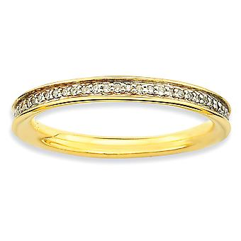 Sterling Silver Polished Prong set Stackable Expressions and Diamonds Gold-Flashed Ring - Ring Size: 5 to 10