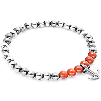 Anchor and Crew Keel Silver and Carnelian Stone Bracelet - Red/Silver