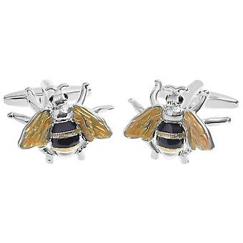 Zennor Bee Cufflinks - Yellow/Black/Silver