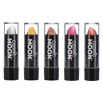 Cosmic Moon - Metallic Lipstick - 5g - For mesmerising metallic lips! - Set of 5 colours - Includes: Silver, Gold, Rose Gold, Pink, Red