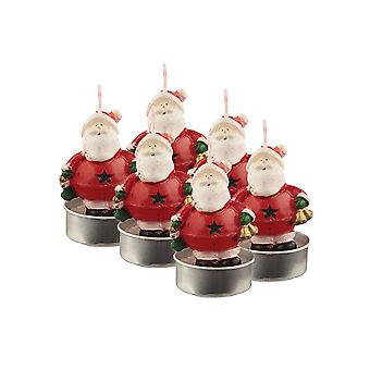 Puckator thee licht kaars-Set van 6 Jingle Santa